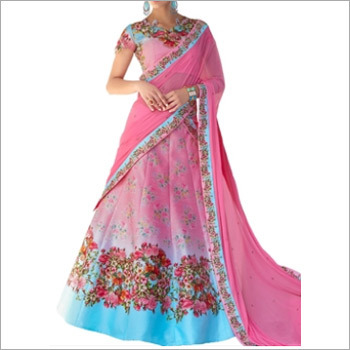 Pink And Sky Blue Color Print Lehenga Cum Gown