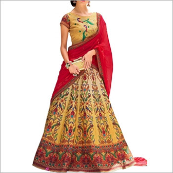 Dark Red And Beige Digital Print Lehenga Cum Gown