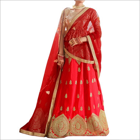 Golden And Red Banglori Silk Lehenga Choli