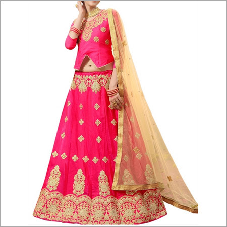 Pink And Beige Lengha Choli