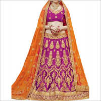 Rani And Orange Color Banglori Silk Net Lehenga