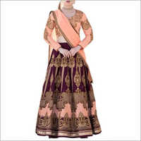Wine And Peach Color Faux Georegtte Lehenga Choli