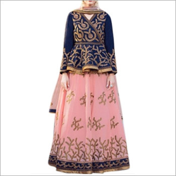 Royal Blue & Peach Color Banglori Lehenga Choli