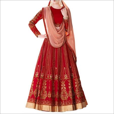 Red And Peach Color Banglori Silk Lehenga Choli