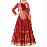 Red And Peach Color Banglori Silk Lehenga Choli