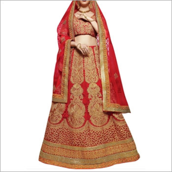 Red Colored Elegant Silk Lehenga