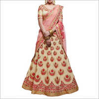 Beige And Peach Handloom Silk Lehenga Choli