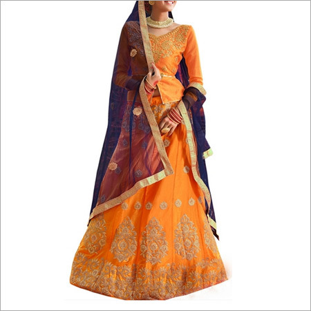 Mustard And Royal Blue Color Lehenga Choli