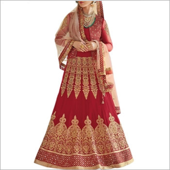 Red & Beige Ghagra Choli Style Suits