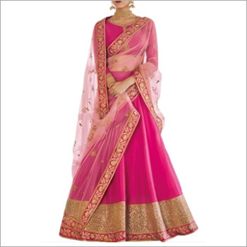 Pink & Beige Ghagra Choli Style Suits