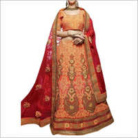 Orange And Marron Colored Silk Lehenga