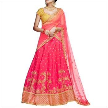 Pink And Yellow Handloom Silk Lehenga Choli