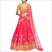 Pink And Yellow Handloom Silk Lehenga Choli