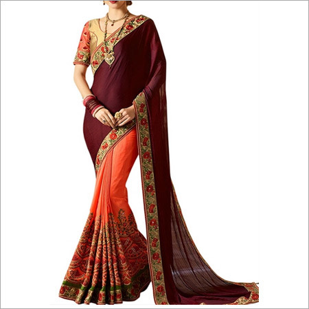Beige And Maroon Banglori Silk Saree