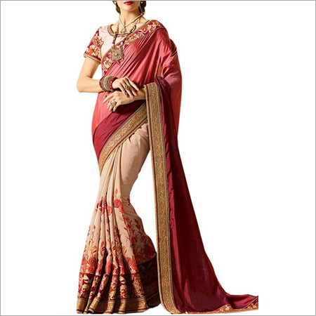 Beige And Fuchsia Pink Banglori Silk Saree