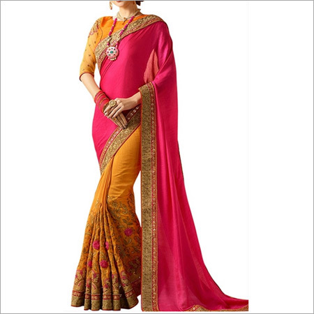 Pink And Orange Banglori Silk Saree
