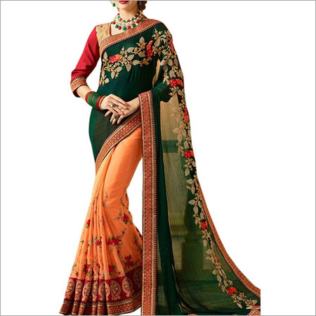 Green & Peach Banglori Silk Saree