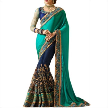 Teal And Dark Blue Banglori Silk Saree