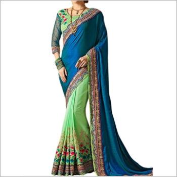 Black And Sea Green Banglori Silk Saree