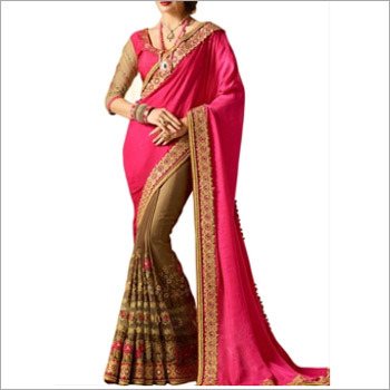 Pink And Brown Banglori Silk Saree