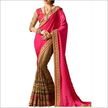Pink And Brown Banglori Silk Saree