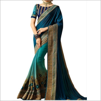 Teal Blue Banglori Silk Saree