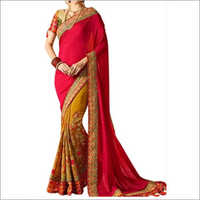 Pink And Multi Color Banglori Silk Saree