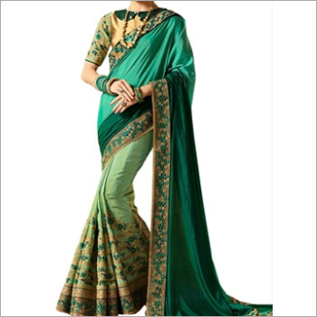 Golden And Green Banglori Silk Saree