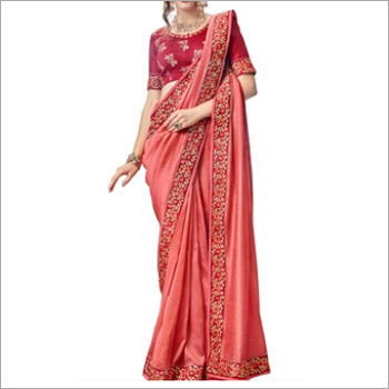 Peach And Red Faux Georgette Saree