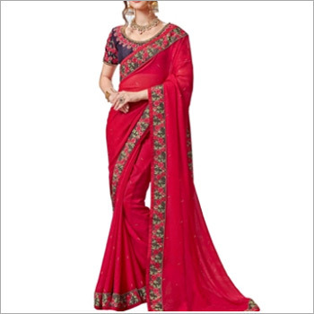 Red And Blue Jacquard Saree