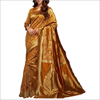Dark Brown Cotton Silk Saree