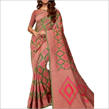 Matte Peach Cotton Silk Saree
