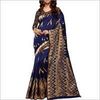 Navy Blue And Copper Cotton Silk Saree