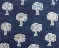 Hand Block Print Tree Print Cotton Indigo Blue Fabric