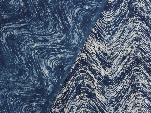Hand Block Print Cotton Indigo Blue Dabu Voile Fabric