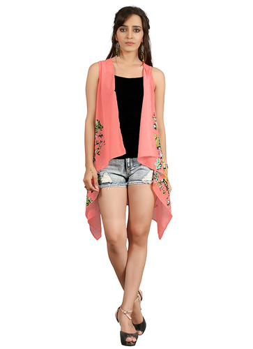 Ladies Printed Peach Shrug