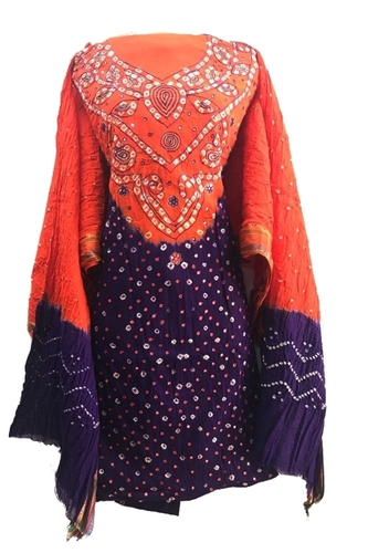 Unstitched Cotton Ethnic Bandhani Dress Material