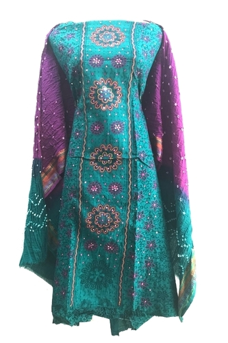 Unstitched Ethnic Bandhani Dress Material
