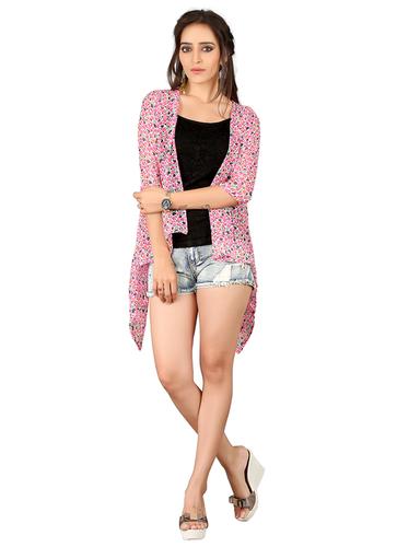 Designer Pink Jacket Style Shrug