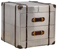Aviation 2 drawers bedside table with leather straps