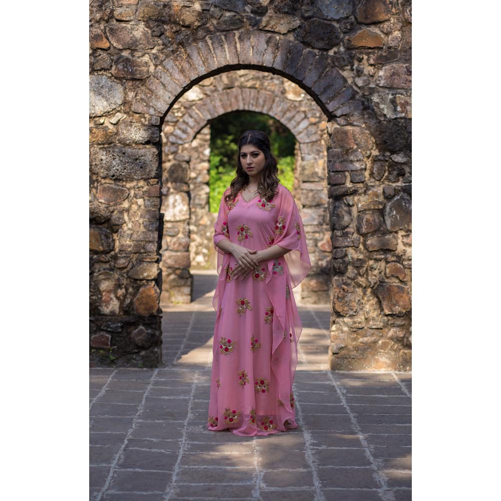 Fresh Pink Georgette Fully Embellished Kaftan