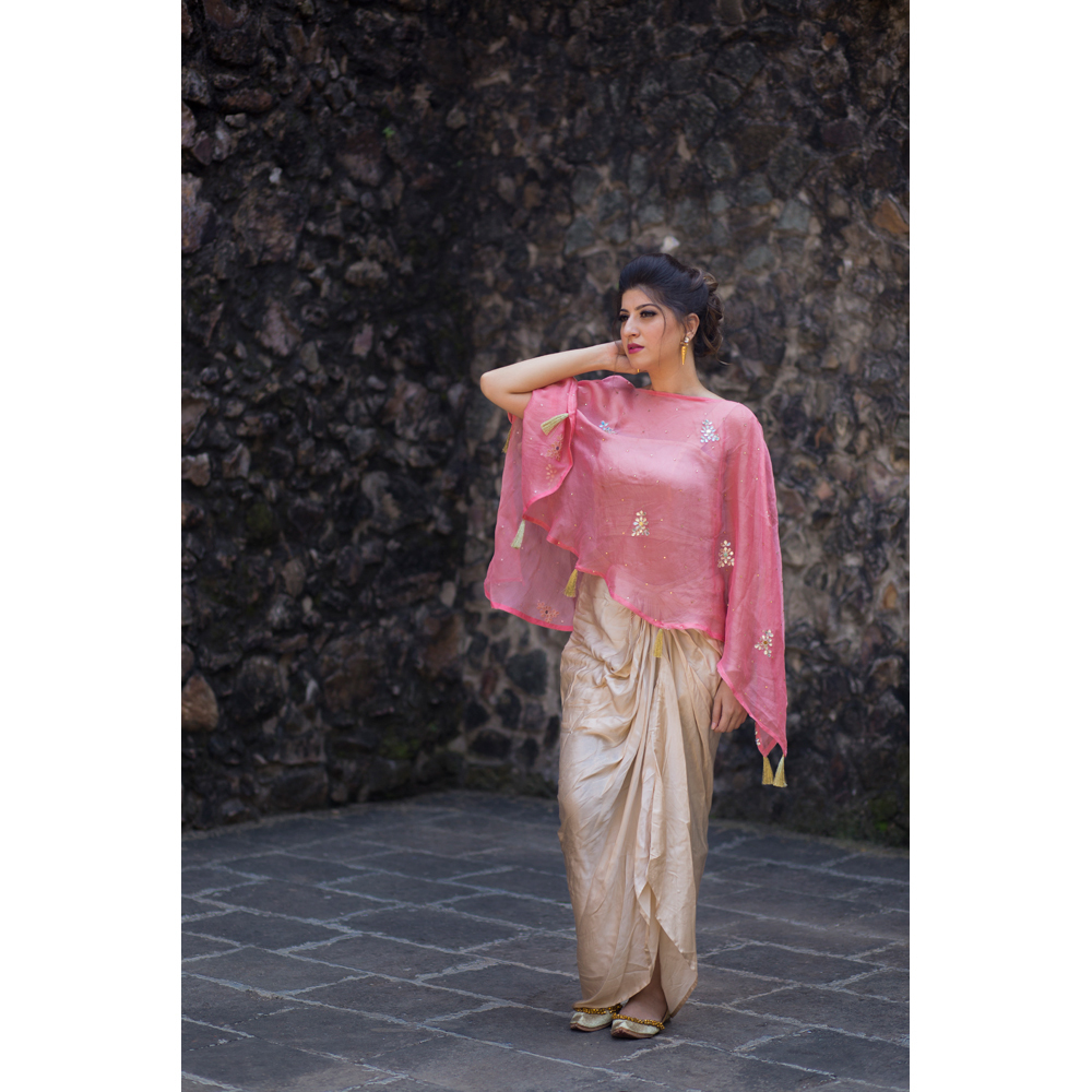 Dhoti Skirt with Pink Jute Cape