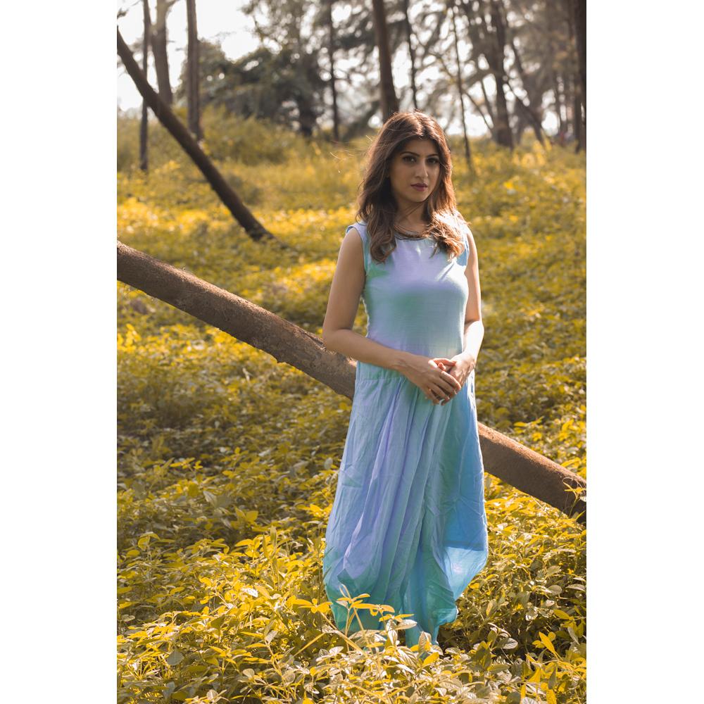 Powder Blue Drape Style One Pice Dress