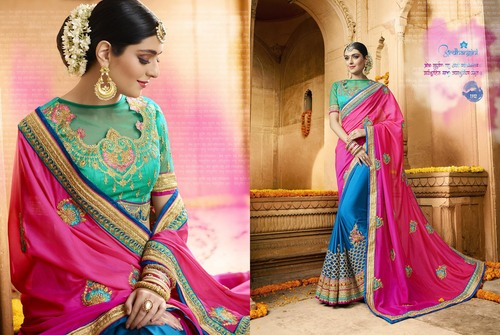 Peacock Blue Silk Designer Saree