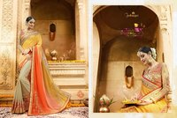 Orange Peach Yellow Shaded Saree
