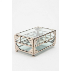 Brass Finish Glass Jewelry Box