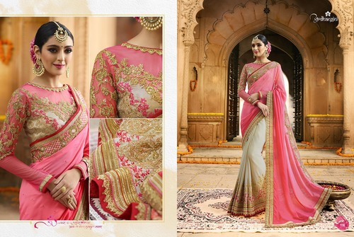 Pink And Cream Designer Fancy Saree