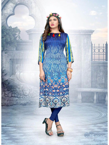 Casual Satin Knee-Long Kurti