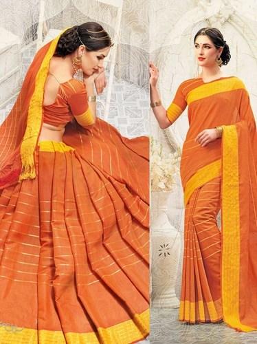 Casual Orange Printed Saree
