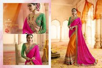 Rani And Orange Half N Half Designer Fancy Saree
